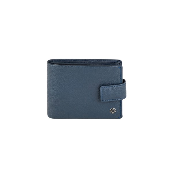 Men's wallet with coin purse - button closure - in genuine leather