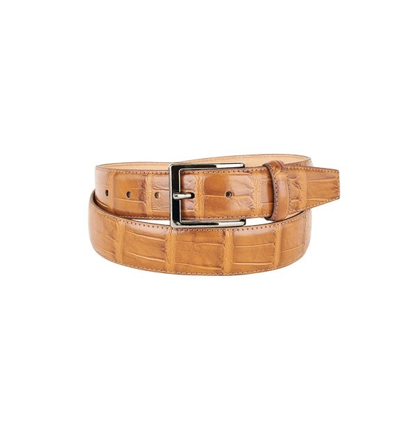 "Man belt made in real leather ""vegetable tanned"" - Croco Embossed - mm. 35"