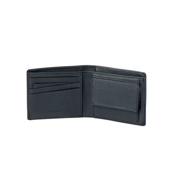 Man's wallet made in Real Leather - with coin pocket nero-black