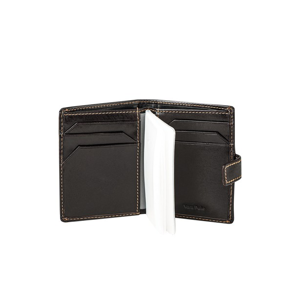 Mini wallet with credit cards, in genuine leather